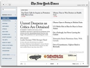 TimesReader 2.0 provided by the New York Times